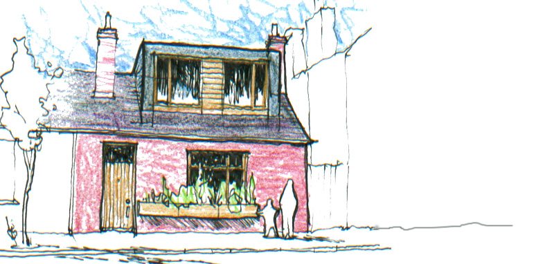 Sketch for alterations to cottage in Ringsend
