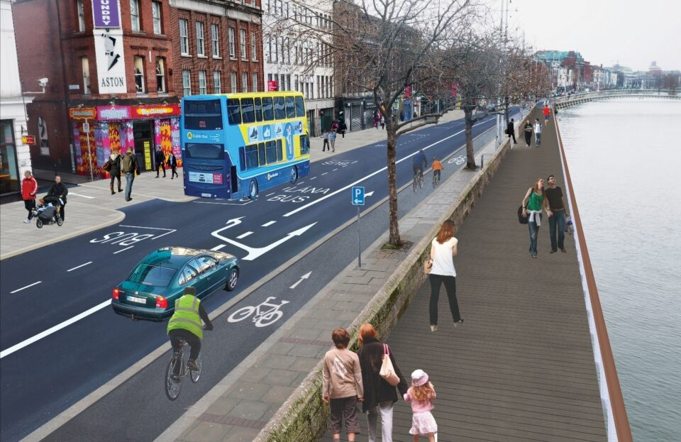 Proposed Liffey Cycle Route, South Quays 2019- Artist's impression